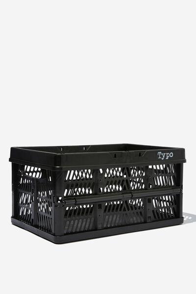 Midi Foldable Storage Crate, BLACK