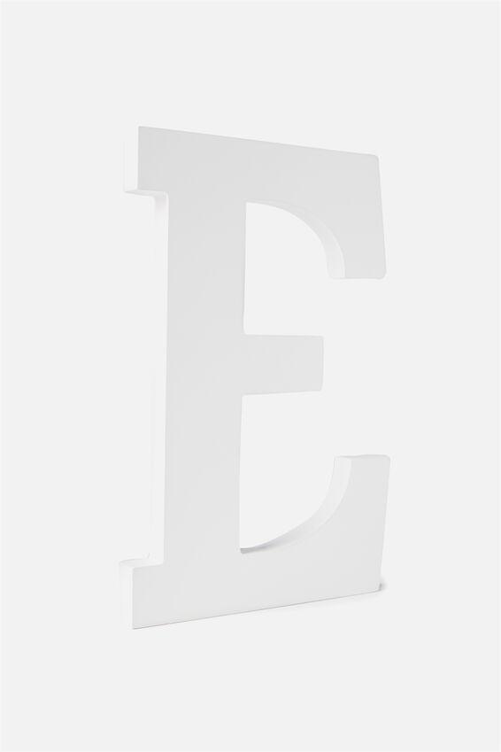 Large Letterpress Letter, WHITE E