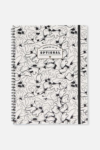 A4 Spinout Notebook - 120 Pages, LCN MICKEY HAND REPEAT