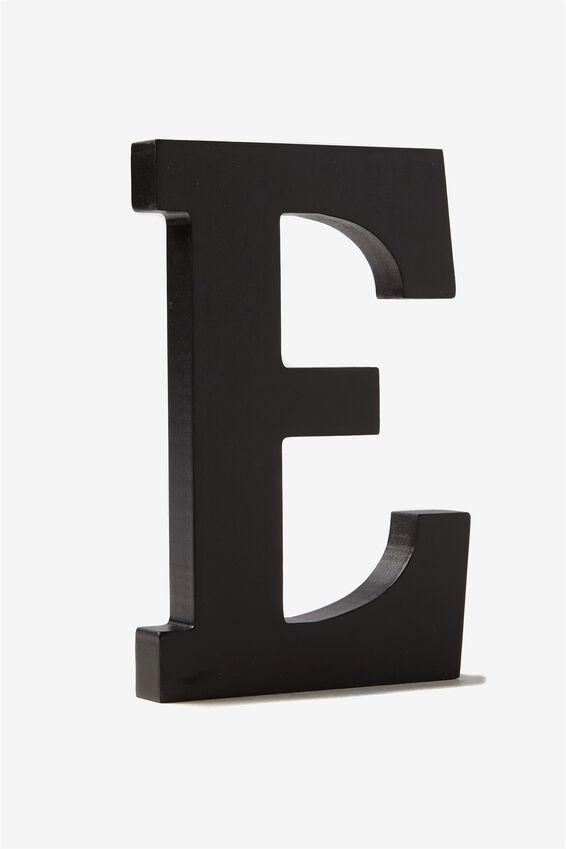 Letterpress Wooden Letter, BLACK E