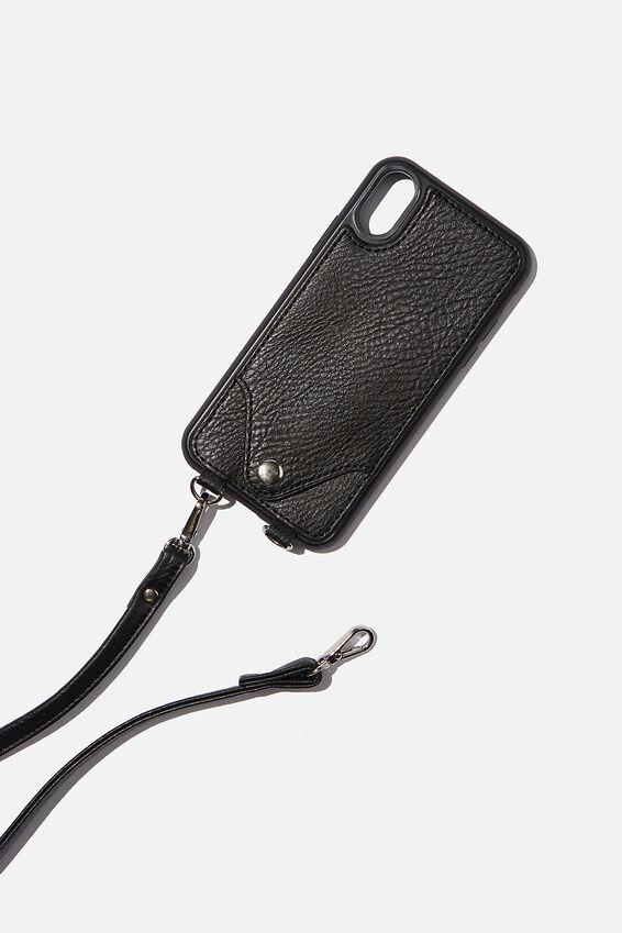 Pu Cross Body Phone Case Iphone X, Xs, BLACK