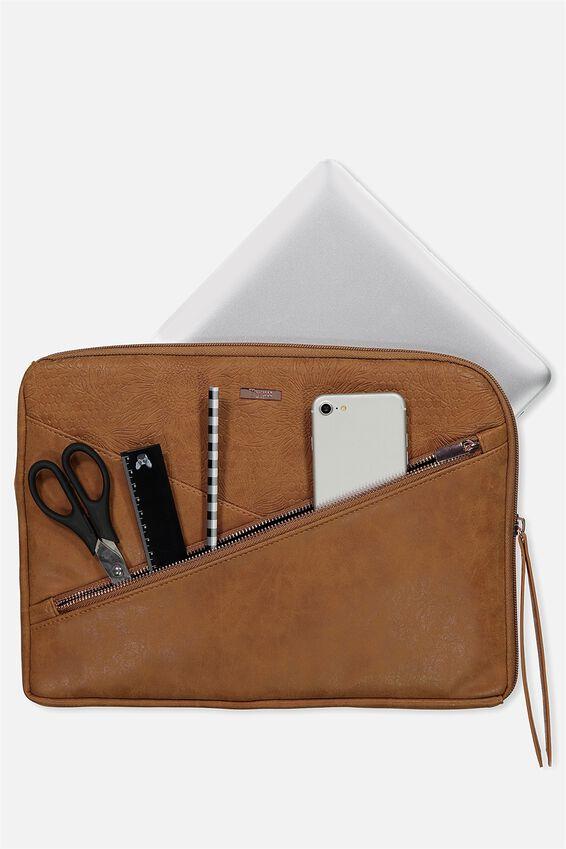 Premium Laptop Case 13 inch, SUNFLOWER TOOLED MID TAN