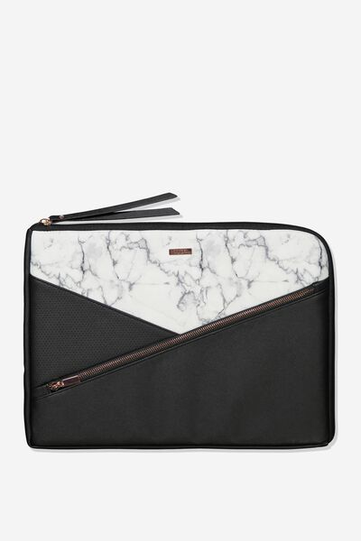 Premium Laptop Case 15 Inch, WHITE MARBLE SPLICE