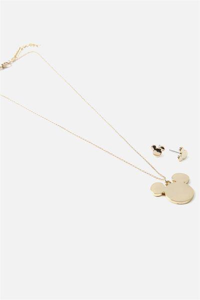 Necklace & Earring Set, LCN GOLD MICKEY HEAD