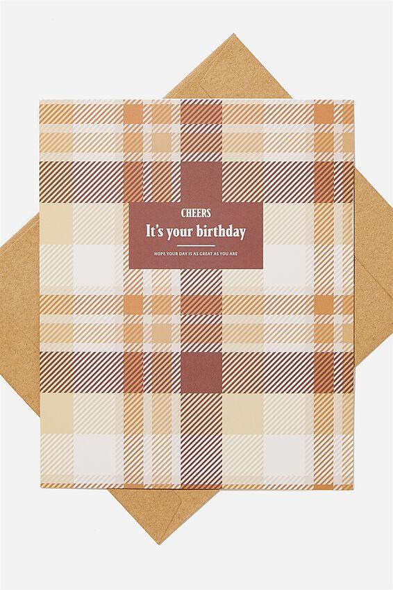 Nice Birthday Card, CHEERS TARTAN BIRTHDAY