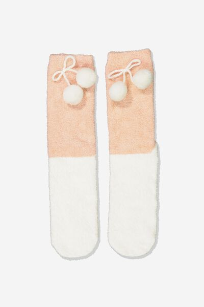 Long Slipper Socks, LAZY POM POM