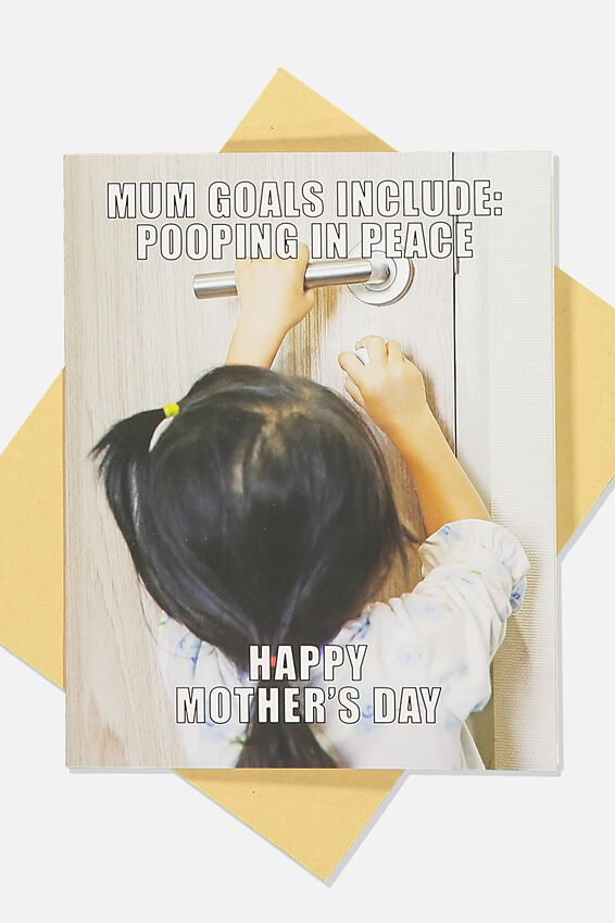 Mothers Day Card, POOPING IN PEACE