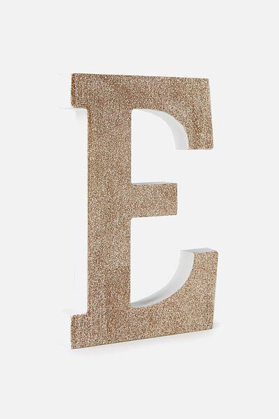 Glitter Letterpress Letter, PALE GOLD GLITTER E