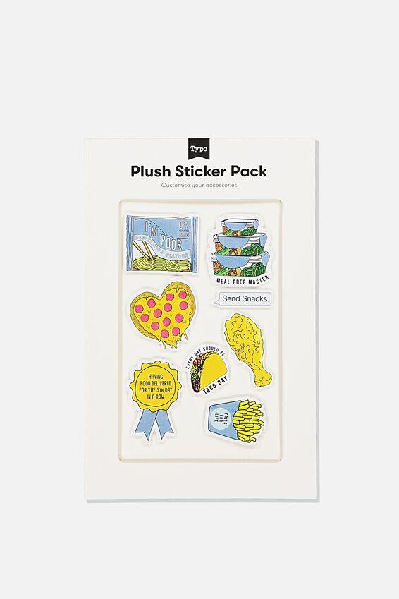Plush Sticker Pack, I LOVE FOOD