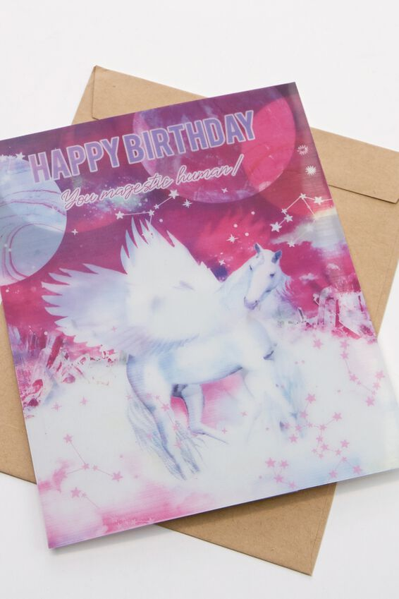 Premium Nice Birthday Card, UNICORN LENTICULAR MOON