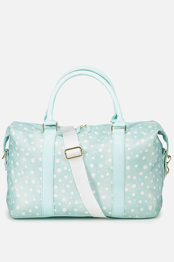 Weekend Away Duffel Bag, AQUA POLKA