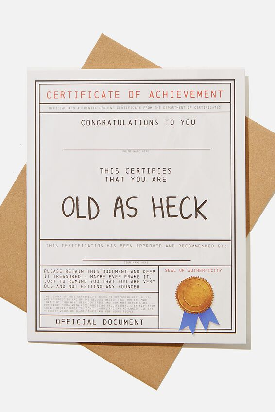 Funny Birthday Card, OLD AS HECK AWARD