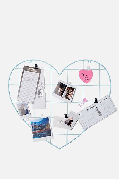 Shaped Wire Organiser, AQUA BLUE HEART