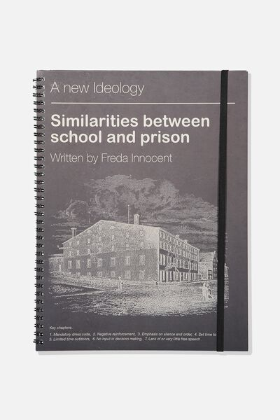 A4 Spinout Notebook - 120 Pages, SCHOOL PRISON