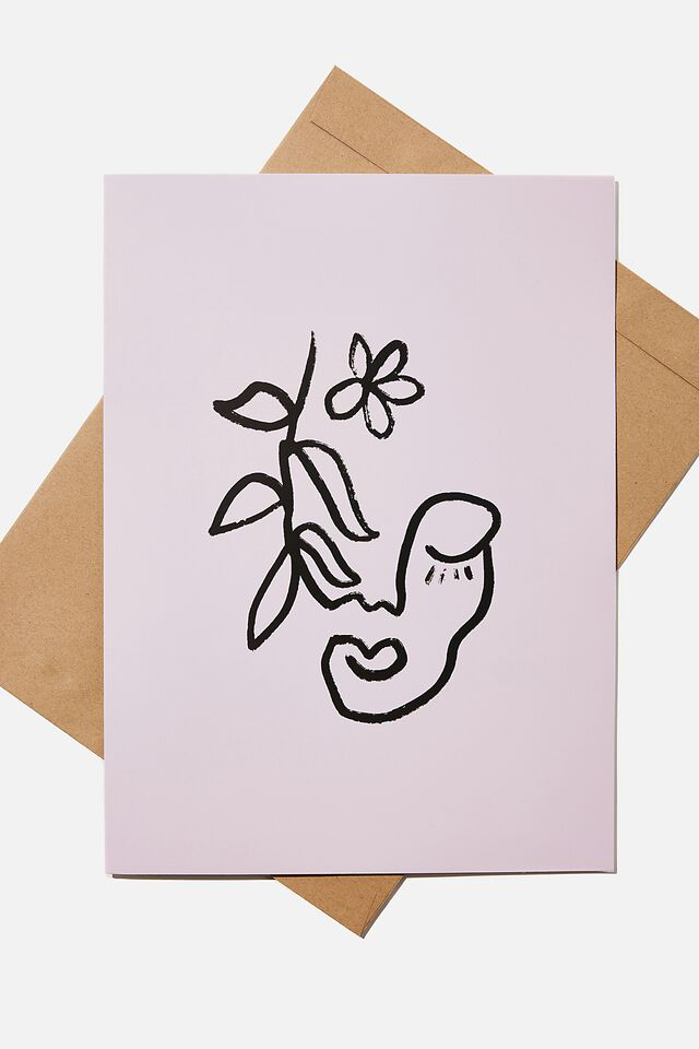 Large Fashion Card, FACE FORM FLORAL PINK