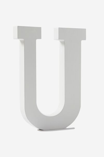 Letterpress Wooden Letter, WHITE U