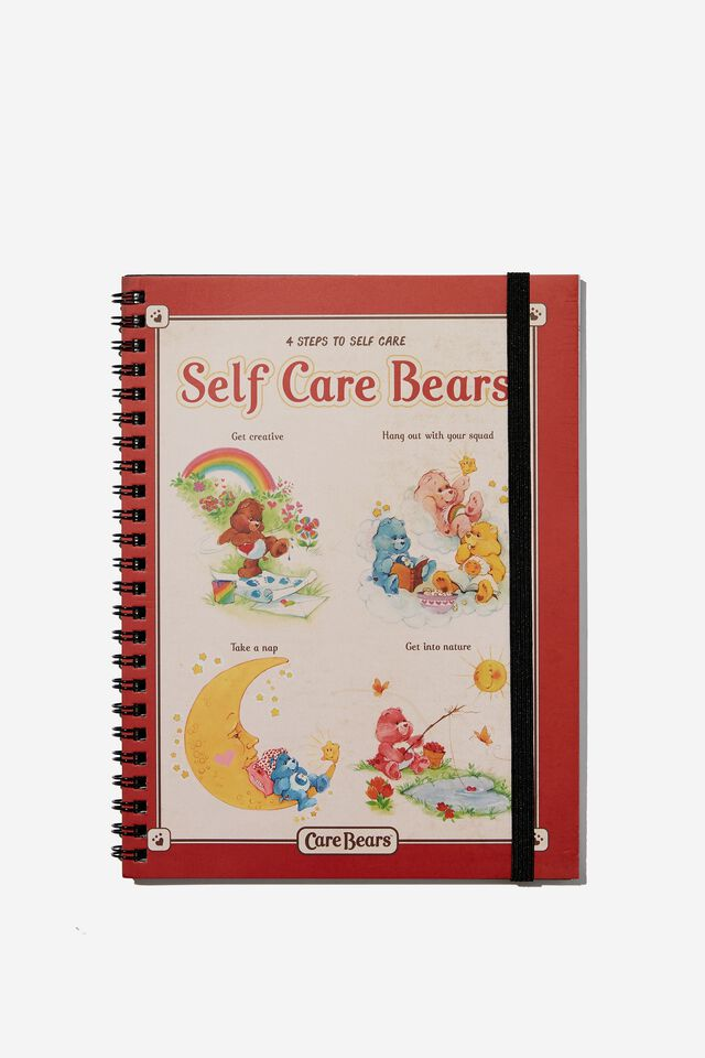 A5 Spinout Notebook Recycled, LCN CLC CARE BEARS SELF CARE GUIDE RED