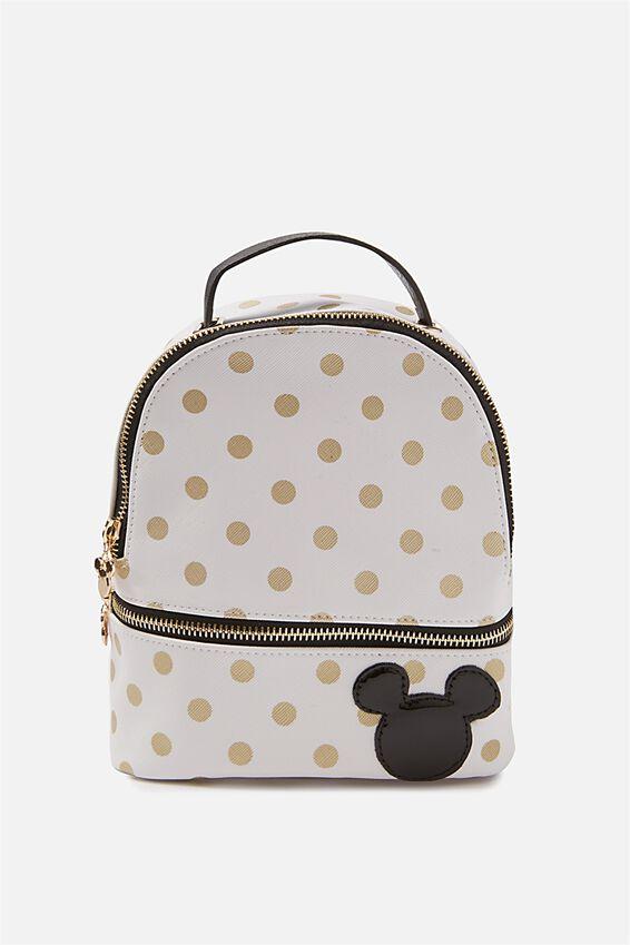 Mini Fashion Backpack, LCN WHITE & GOLD POLKA