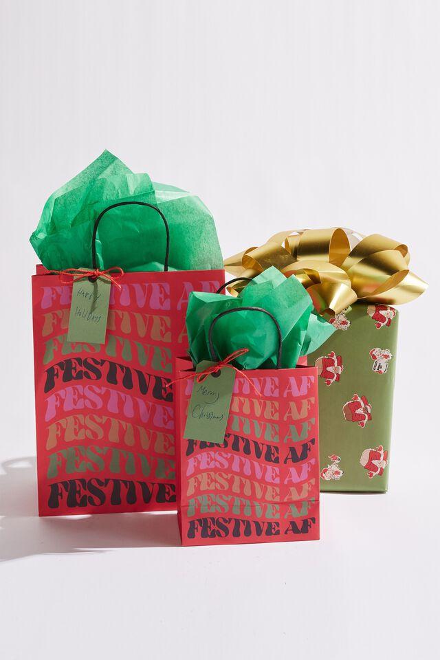 Get Stuffed Gift Bag - Medium, FESTIVE AF WARPED!