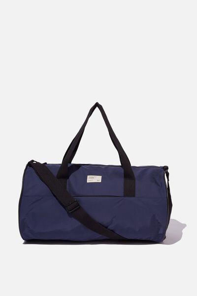 Premium Barrel Bag, NAVY AND RED