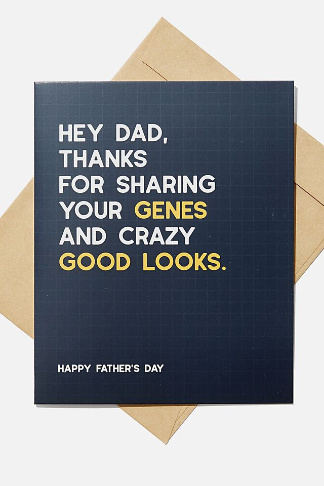 Fathers Day Card, GENES AND CRAZY GOOD LOOKS