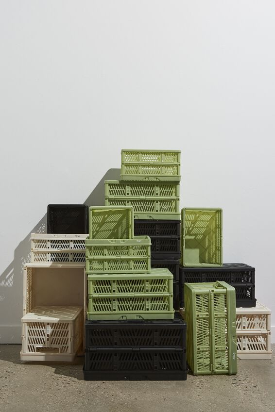 Small Foldable Storage Crate, ALLY GREEN