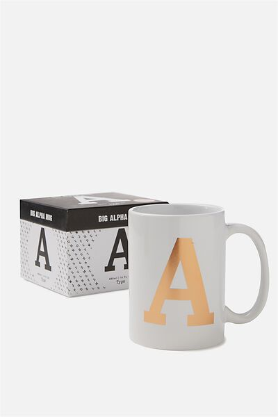 Big Alphabet Mug, ROSE GOLD A