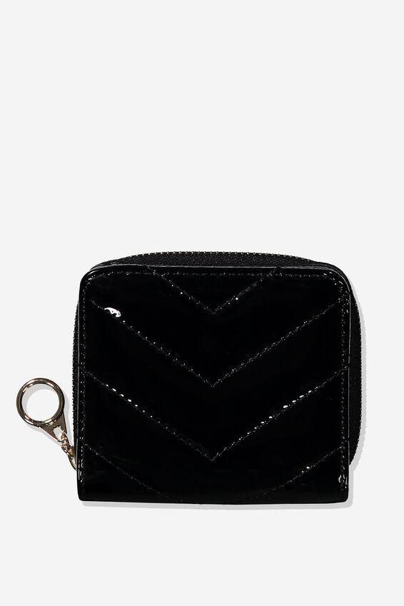 Mini Wallet, BLACK CHEVRON QUILT