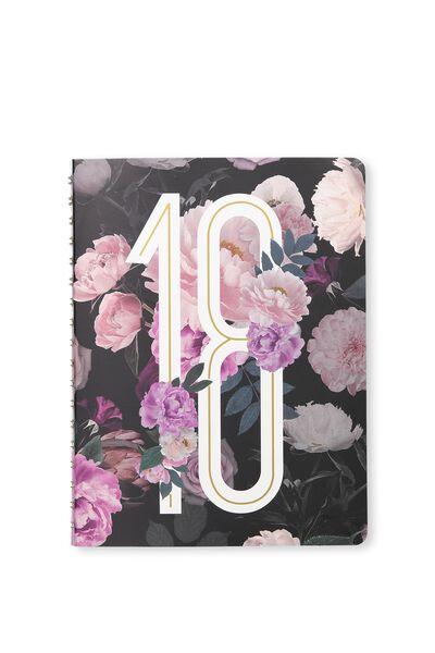 2018 Printed Diary, DARK FLORAL