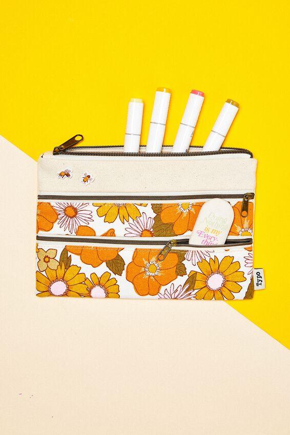 Double Archer Pencil Case, ORANGE AND PINK STEVIE FLORAL