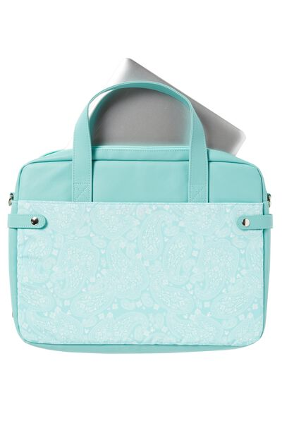 Varsity Laptop Bag, AQUA LACE