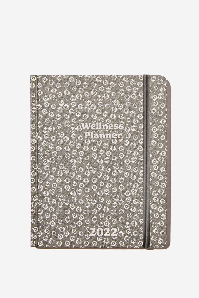 2022 Small Weekly Wellness Planner, STAMPED DAISY GREYSCALE