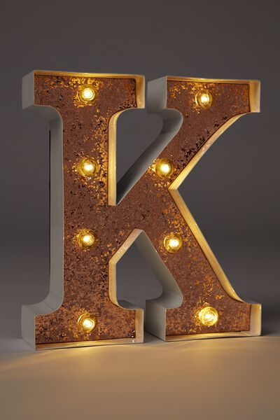 Small Letter Marquee Light, WHITE WITH ROSE GOLD GLITTER K