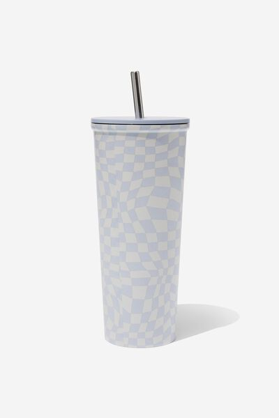 Metal Smoothie Cup, WARPED CHECKERBOARD LILAC