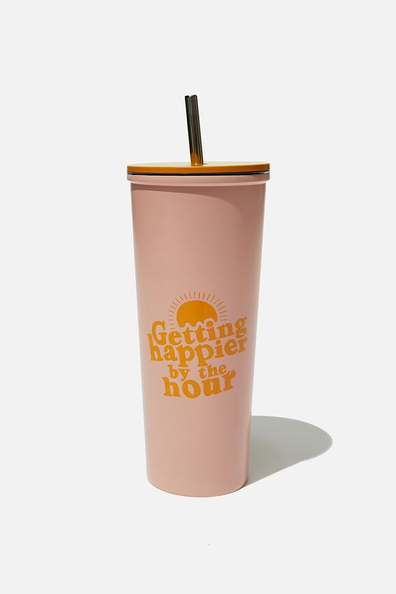 Metal Smoothie Cup, HAPPIER BY THE HOUR