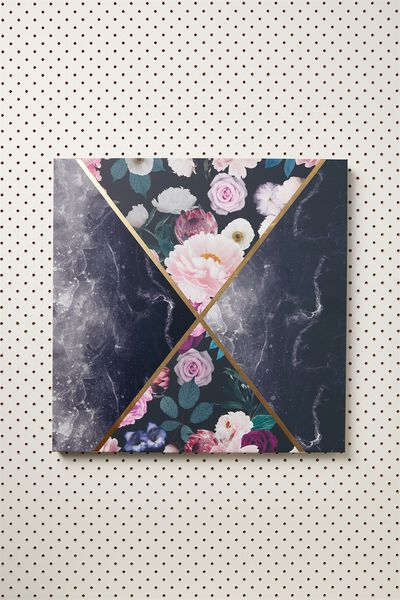45X45 Canvas, BLACK MARBLE FLORAL