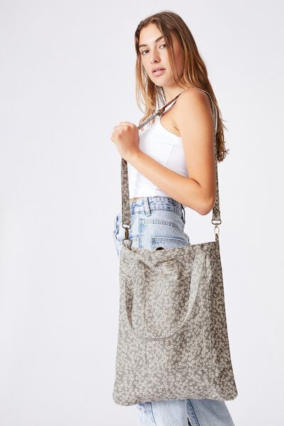 Book Tote Bag, CHERRY BLOSSOM COOL GREY