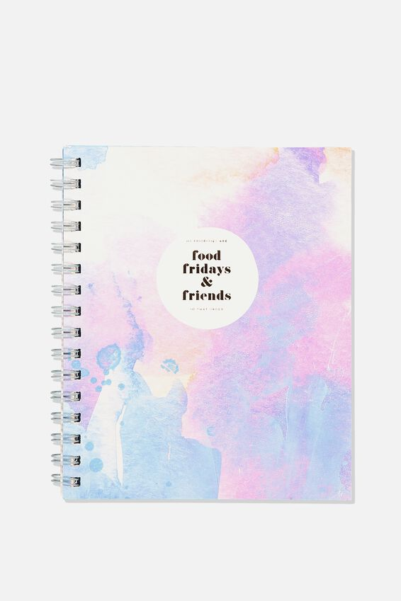 A5 Campus Notebook - Rec, FOOD FRIDAYS FRIENDS WATERCOLOUR