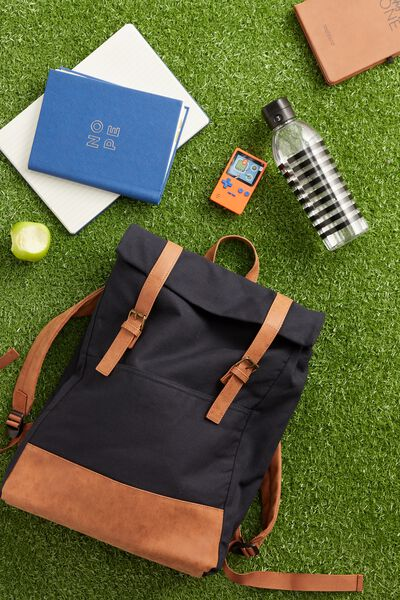 Roll Top Backpack, NAVY AND MID TAN
