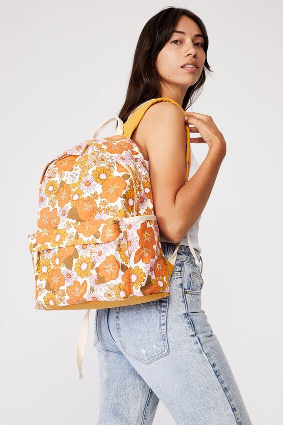 Fundamental Backpack, STEVIE FLORAL ORANGE AND PINK