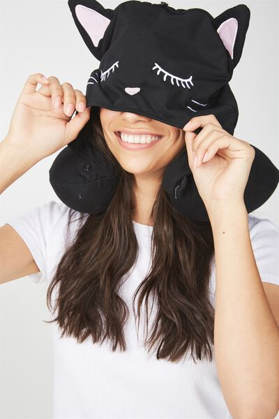 Hooded Travel Neck Pillow, NOVELTY BLACK CAT