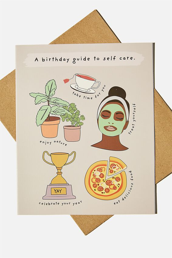 Nice Birthday Card, BIRTHDAY GUIDE TO SELF CARE