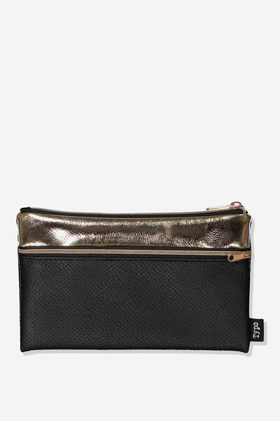 Archer Pencil Case, BLACK PERFORATED