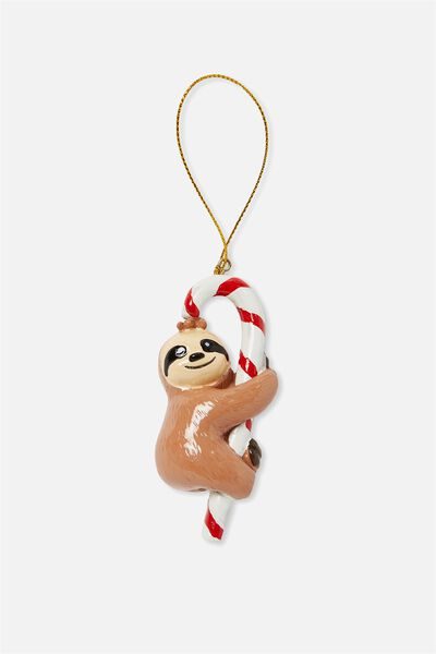 Christmas Ornament, CANDY CANE SLOTH