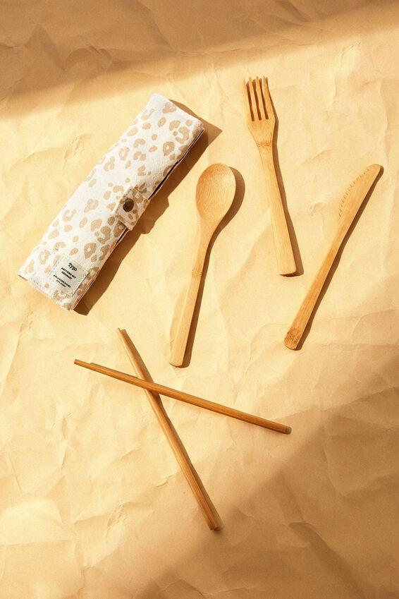 Cut My Lunch Cutlery Roll, ECRU SCRATCH LEOPARD
