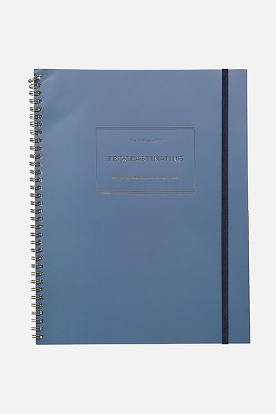 A4 Spinout Notebook - 120 Pages, NAVY PROCRASTINATION