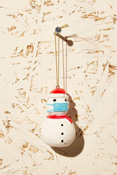 Resin Christmas Ornament, MASK SNOWMAN