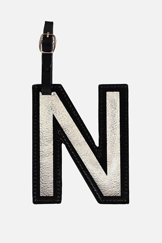 Shaped Alphabet Luggage Tag, N