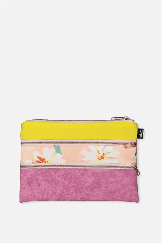 Double Archer Pencil Case, RASPBERRY YELLOW DAISY