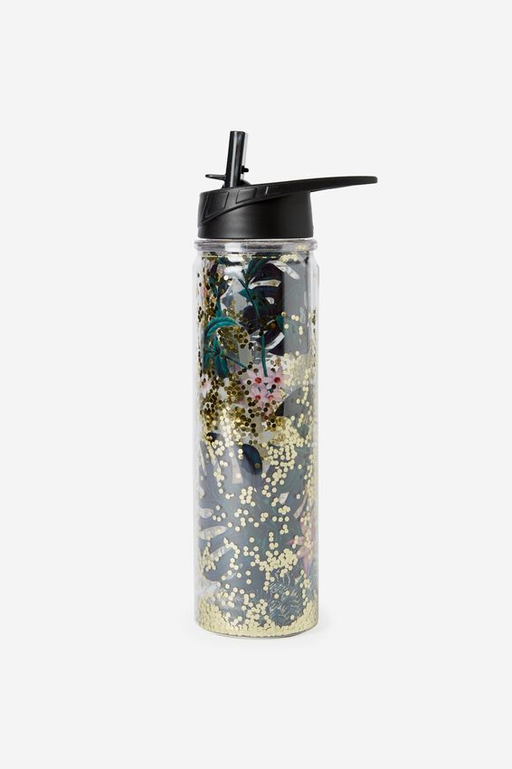 Double Walled Water Bottle, BLACK PALM PRINT